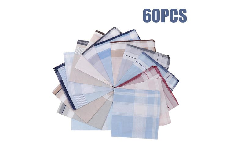 60Pcs 40x40cm Plaid Multicolor 100% Cotton Handkerchief Ladies Men Square Gift