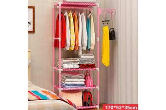 Portable Wardrobe Durable Clothes Storage Wardrobe Storage Organizer(pink)(2x53x35cm)