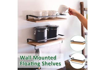 Rustic Floating Shelves Wall Shelves Mounted Kitchen Living Room Bathroom with Towel Rod for kitchen bathroom living room -- With towel holder / Without towel holder