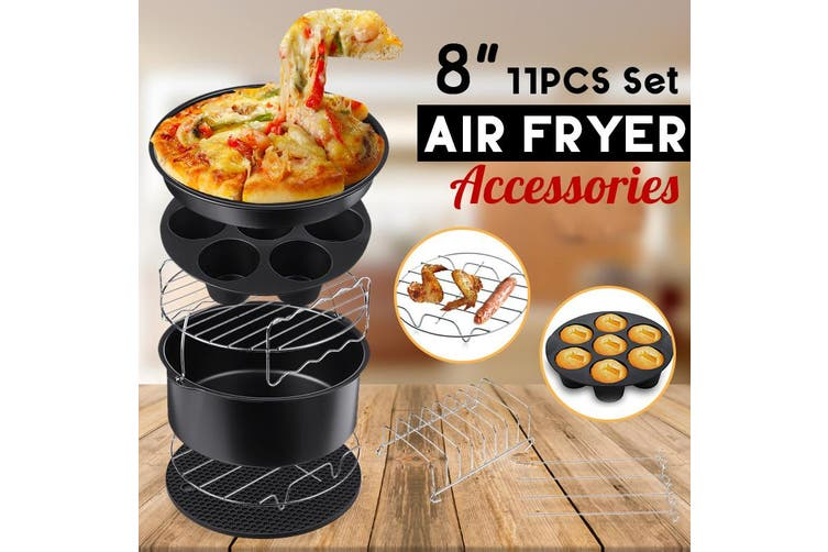 【11 pcs】(For 3.5L-6.8L Air Fryers) 8 inch Air Fryer Accessories Rack Cake Pizza Oven Barbecue Frying Pan Tray Frying Cage Dish Baking Pan Rack Pizza Tray Pot Tool(11PCS)