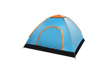 3-4 People Full-automatic Tent an Automatic Instant Portable Camping Tent - Doors on Both Sides - Anti-Mosquito-Water-Resistant & UV Protection Sun Shelter(blue)