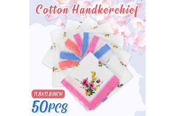 50Pcs Handkerchief 100% Cotton Pocket Square Hanky Soft Absorbent Vintage