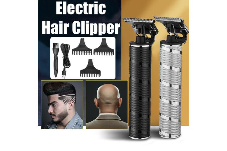 Cordless Trimmer Hair Clipper Machine Professional Mini Hair Salon Clipper Men's Hair Fasion(Color: Black/Silver)(silver)(Silver New Ver Set)