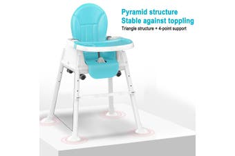 Adjustable Baby Comfortable High Chair Safe Feeding Highchair For Kids/Toddler(blue)