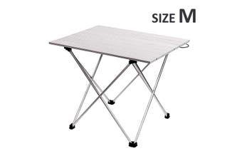 Portable Folding Camping Table Picnic Beach Table Aluminium Alloy Dining Desk(silver)(M)