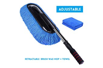 Microfiber Water Fed Car Wash Cleaning Mop Duster Brush Soft Wax Telescoping Kit(brush wax mop with towel)