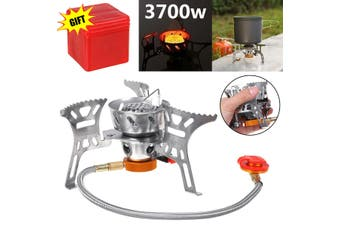 Outdoor Camping Gas Stove Portable Foldable Windproof Cooking Burner w/Adapter