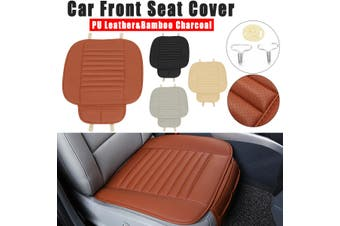 1 Pcs Car Front Seat Cover Cushion Breathable PU Leather Bamboo Charcoal Pad Mat(black)(1pcs front seat cushion)