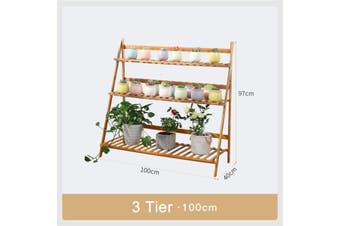 100CM Multi-Tier Wooden Plant Flower Stand Plant Shelf Standing Flower Shelf Flower Pots Rack Display Outdoor Decor