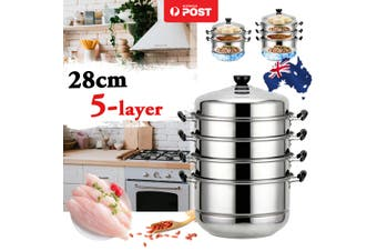 5 Layer Sainless Steel Thick Steamer Pot Soup Dessert Steam Cook Cooking Cage く