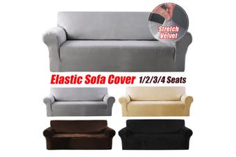 1 Seats Elastic Stretch Velvet Sofa Armchair Cover Solid Color Couch Grey