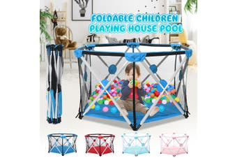 Folding Children Playing House Playhouse Portable Kids Playpen Outdoor Indoor Play Tent Game Pit Toddler Game Pool Fence(blue)