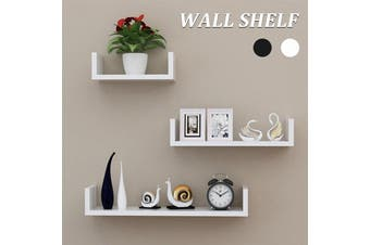 Black/White 3-piece Set 1.8cm Thickness Wooden Wall Shelf Wall-mounted Organiser(white)