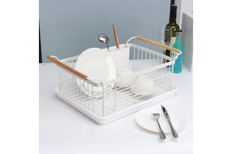 """19"""" Large Metal Wire Cutlery Kitchen Dish Cup Drying Rack Holder Drainer Basket"""