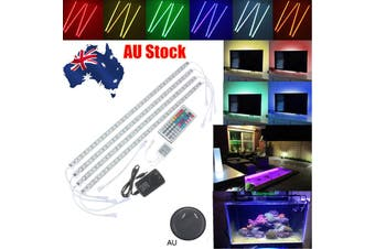 4Pcs 50cm Rigid RGB LED Strip Light 5050 SMD Waterproof IP65 Fish Tank Aquarium Lamp TV Background AU/UK/EU/US Plug(multicolor)(AU Plug)