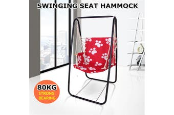 Hanging Hammock Indoor Outdoor Swing Cotton Rope Chair Patio Iron Black Stand Garden Photography Props