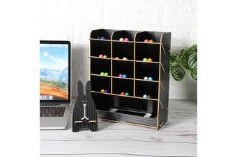 Wooden Desk Pen Holder Box Office Desktop Stationary Storage Rack with Drawer(Black)