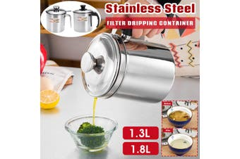 1.3L/1.8L Stainless Steel Storage Keeper Filter Dripping Container Cooking Oil(1.8L Black Handle)