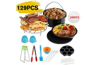 Air Fryer 129Pcs Air Fryer 6/7/8 inch Frying Baking Pan Rack Pizza Tray Pot Tool Accessory(6inch- 129pcs)