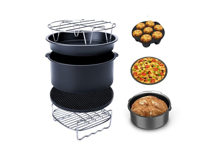 Air Fryer 129Pcs Air Fryer 6/7/8 inch Frying Baking Pan Rack Pizza Tray Pot Tool Accessory(6inch- 129pcs)