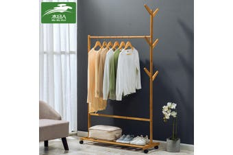 Wooden Single Bar Heavy Duty Clothes Rolling Garment Coat Rack Hanger Holder Household Racks(60 cm)