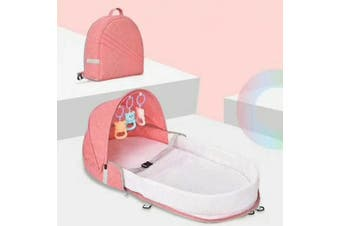 Portable Travel Baby Nest Baby Cribs Toddler Multi-function Folding Bed Folding Chair(pink)(Round Crib Shoulder Bag)
