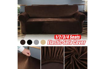 2 Seats Elastic Stretch Velvet Sofa Armchair Cover Solid Color Couch Grey