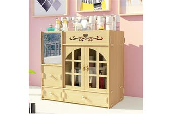 Makeup Organizer Cosmetic Storage Box Drawer Case Brush Lipstick Desk Holder(White Maple)