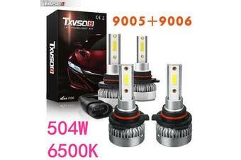 2 Pairs 9005/HB3 9006/HB4 504W LED Globes Headlight Kit Car Beam Bulbs 6500K L