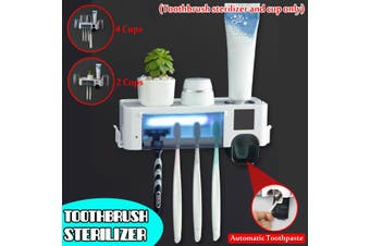 Solar/USB Smart Ultraviolet Toothbrush Sterilizer UV Light Toothbrush Storage Box Organizer(4 Cups with squeezer)