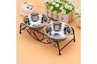 Double Bowl Dog Cat Feeder Elevated Stand Raised Dish Feeding Food Water Pet(Type G)