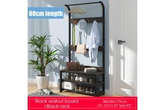 80CM/60CM Clothes Garment Rack Heavy Duty Hanger Closet Organizer Rail Shelf(black)(80 cm)