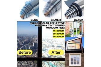 High Quality UV-Proof Explosion-Proof Glass Tinted Mirror Insulation Stickers Solar Reflective Window Film Sticker(black)(60x200cm)