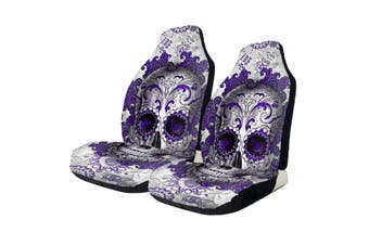 Pair Universal Front Car Seat Covers Cushion Protector Purple Skull(2pcs Purple Skull seat cover)