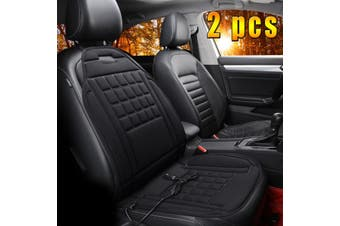 2x Adjustable Temperature 12V Car Heated Seat Cushion Chair Warmer Cover Pad Mat(black)(2PCS)