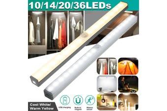10-36 LEDs Under Closet Light Motion Sensor USB Rechargeable Magnetic Strip Lamp(coolwhite)(14 LEDs)