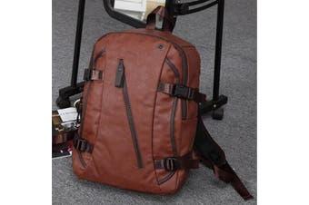 Men's Vintage Backpack School Bag Rucksack Travel Satchel Leather Laptop Bag(brown)
