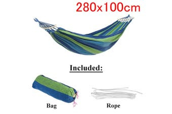 Outdoor Garden Portable Canvas Hammock Travel Camping Swing Hanging Chair Bed(blue)(Type A Hammock with Wooden stick(280x100cm))