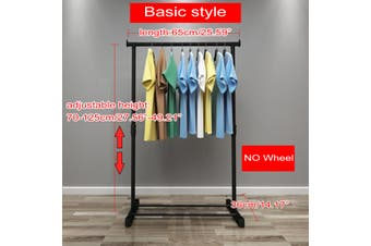 Double Bar Rod Adjustable Heavy Duty Hanger Clothes Hanger Rolling Garment(black)(Basic style)