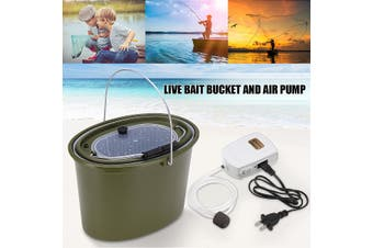 3 IN 1 LIVE BAIT PORTABLE FISHING BUCKET CAMPING AQUARIUM AIR PUMP HANDLE NEW(Fishing Bucket And Oxygen Pump)