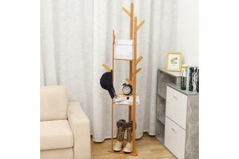 3-Layer Bamboo Clothes Laundry Coat Hat Rack 8 Hooks Tree Stand Hanger Organizer(natural)