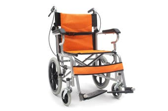 34'' Lightweight Solid Foldable Wheelchair Armrest Footrest Pushchair with Hand Brakes