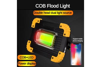 Portable Flood Light COB Inspection Light LED Work Light Rechargeable Work Light for Car Repairing, Workshop, Garage, Camping, Emergency Lighting Two-Sided COB Lamp(double square light)