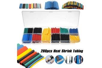 280PCS 5 Colors 8 Sizes Assorted 2:1 Heat Shrink Tubing Wrap Sleeve Kit With Box(1 set)