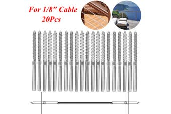 """20Pcs Left Hand therad Steel Wire Rope Balustrade Kit Lag Screw Terminal Swage 3.2mm for 1/8"""" Cable"""