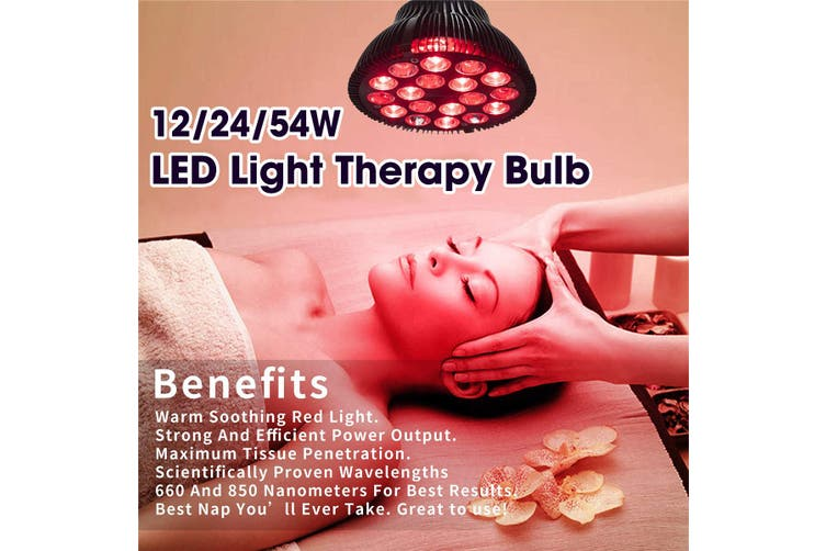 2IN1 54W Red Heat Light LED Therapeutic Lamp Bulb Health Pain Relief Anti-aging(black)