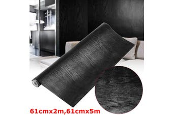 61cm*5m Black Wood Looking Textured Self Adhesive Decor Contact Paper Vinyl Shelf Liner(black)(61cm by 5m)