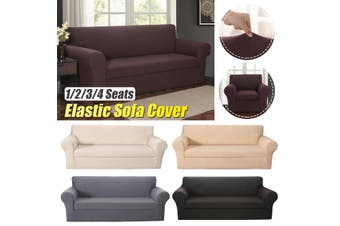 2-piece Set Elastic Stretch Sofa Armchair Cover Solid Color Couch Slipcover(khaki)(1Seat)