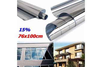 76cmx1m Mirror Silver 15% Solar Reflective Window Film One Way Privacy Stickers(silver)(76X100cm)