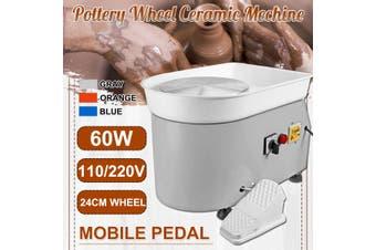 600W Electric Pottery Wheel Machine For Ceramic Work Art Craft with Mobile Pedal(orange)(AU Plug)